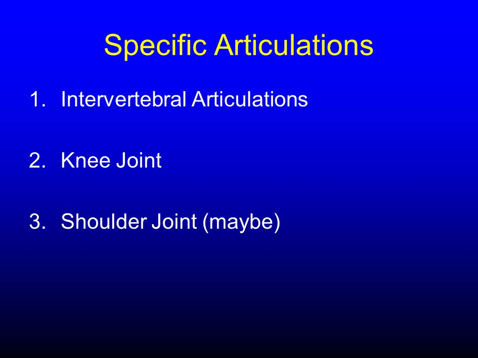 Specific Articulations