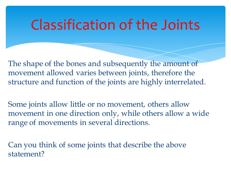 Classification of the Joints