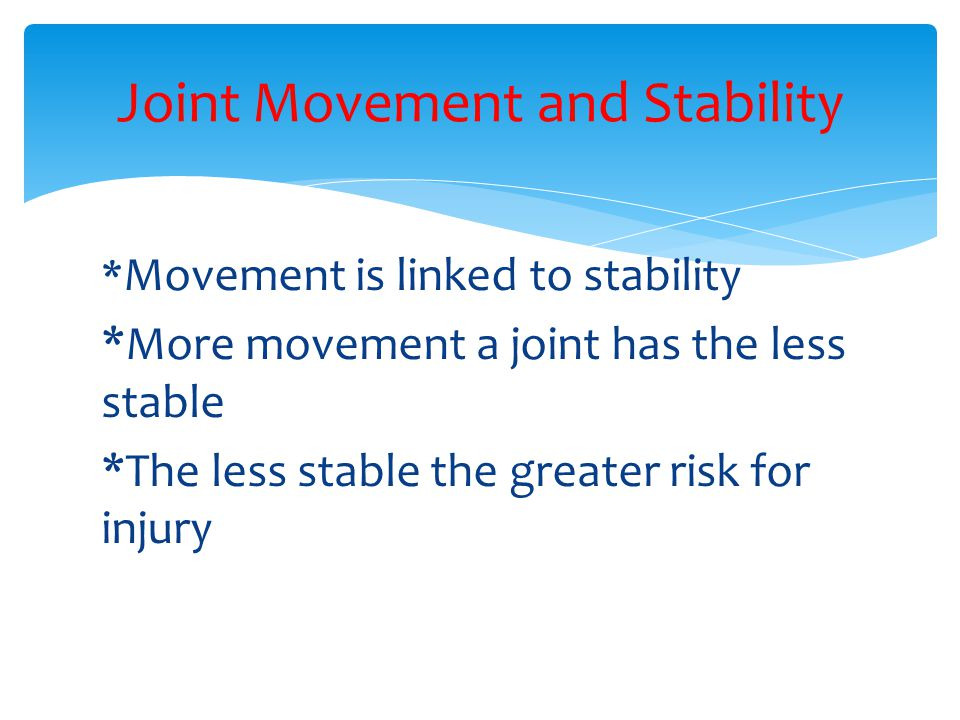 Joint Movement and Stability