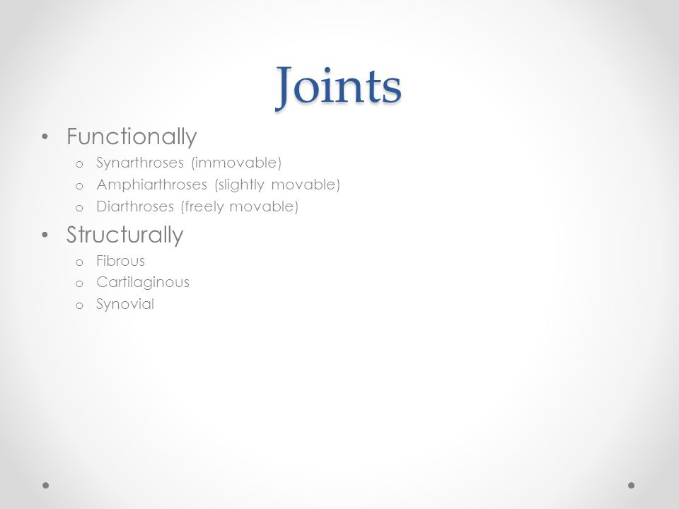 Joints Functionally Structurally Synarthroses (immovable)