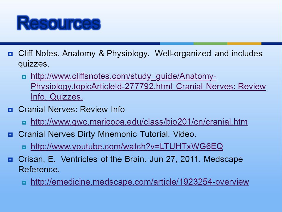 Resources Cliff Notes. Anatomy & Physiology. Well-organized and includes quizzes.