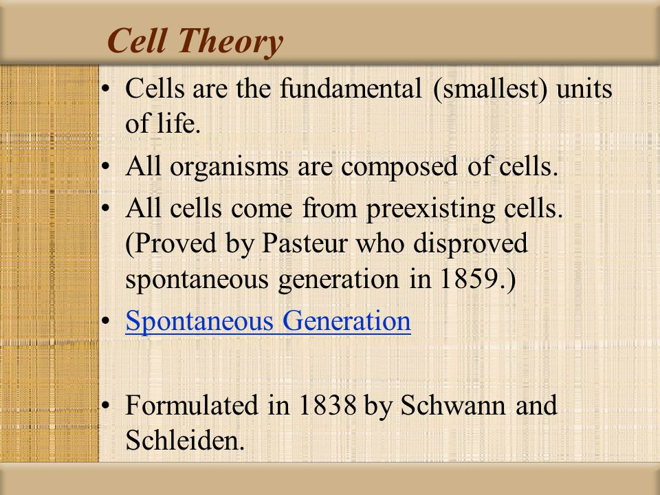 Cell Theory Cells are the fundamental (smallest) units of life.