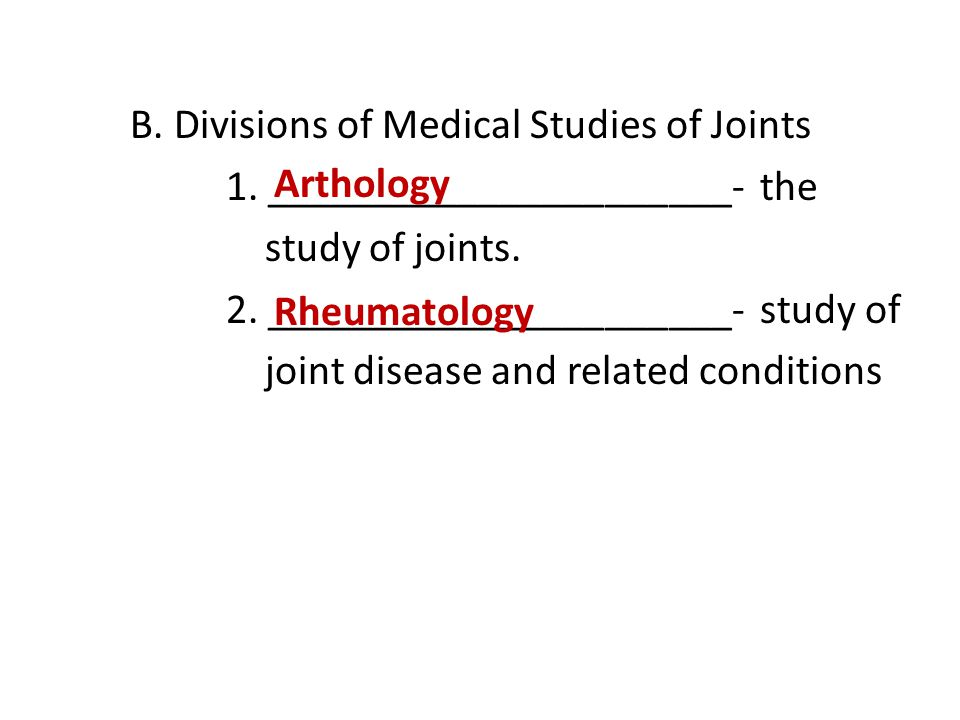 B. Divisions of Medical Studies of Joints 1