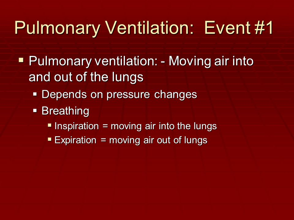 Pulmonary Ventilation: Event #1