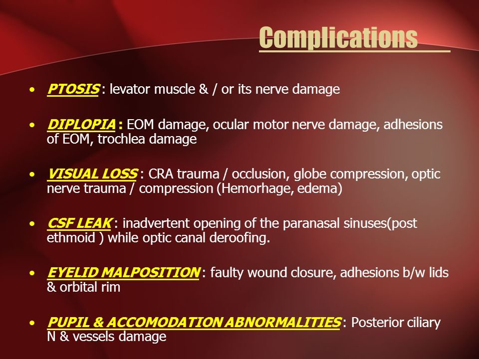 Complications PTOSIS : levator muscle & / or its nerve damage