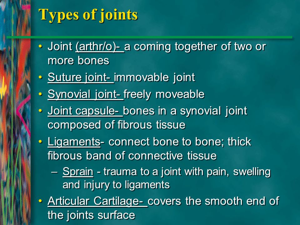 Types of joints Joint (arthr/o)- a coming together of two or more bones. Suture joint- immovable joint.