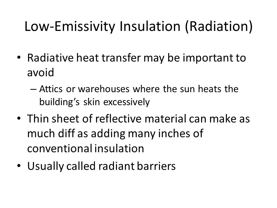 Low-Emissivity Insulation (Radiation)