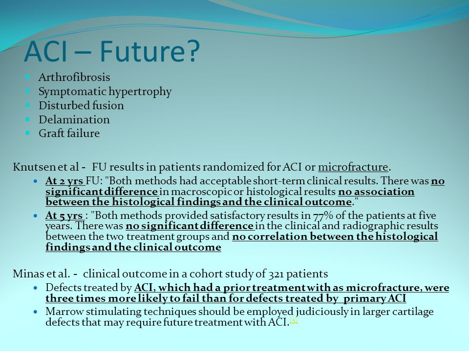 ACI – Future Arthrofibrosis Symptomatic hypertrophy Disturbed fusion