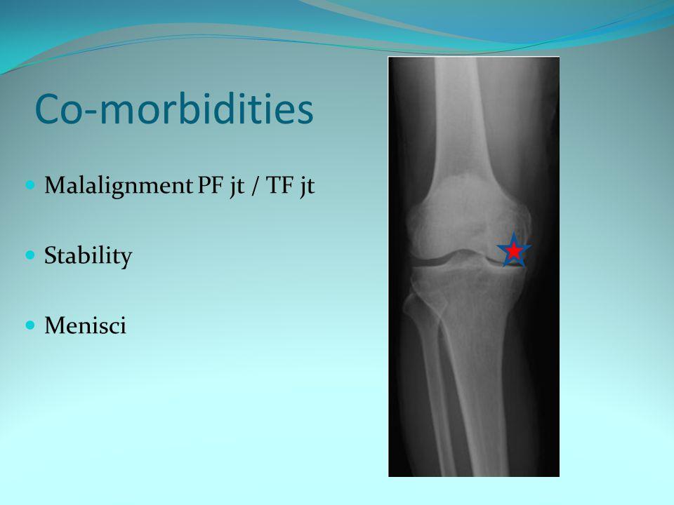 Co-morbidities Malalignment PF jt / TF jt Stability Menisci