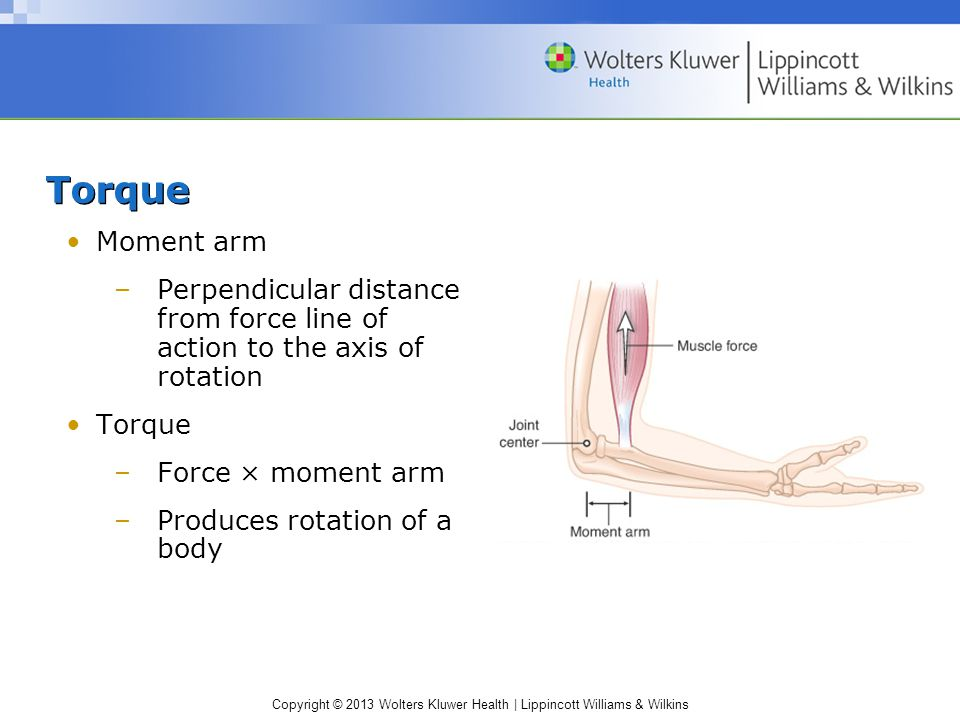 Torque Moment arm. Perpendicular distance from force line of action to the axis of rotation. Torque.