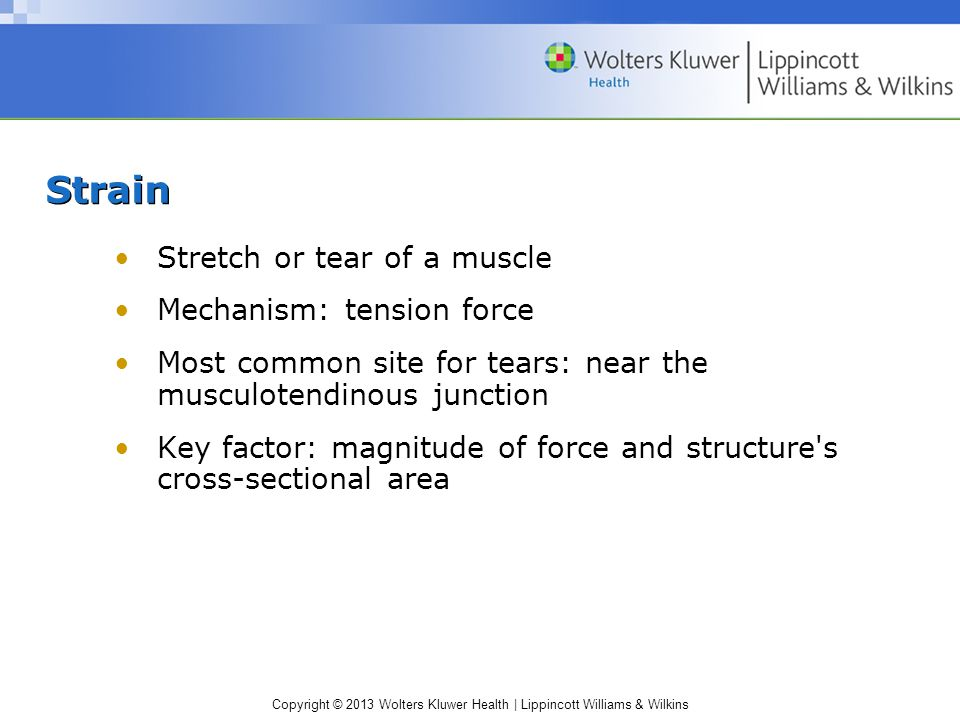 Strain Stretch or tear of a muscle Mechanism: tension force