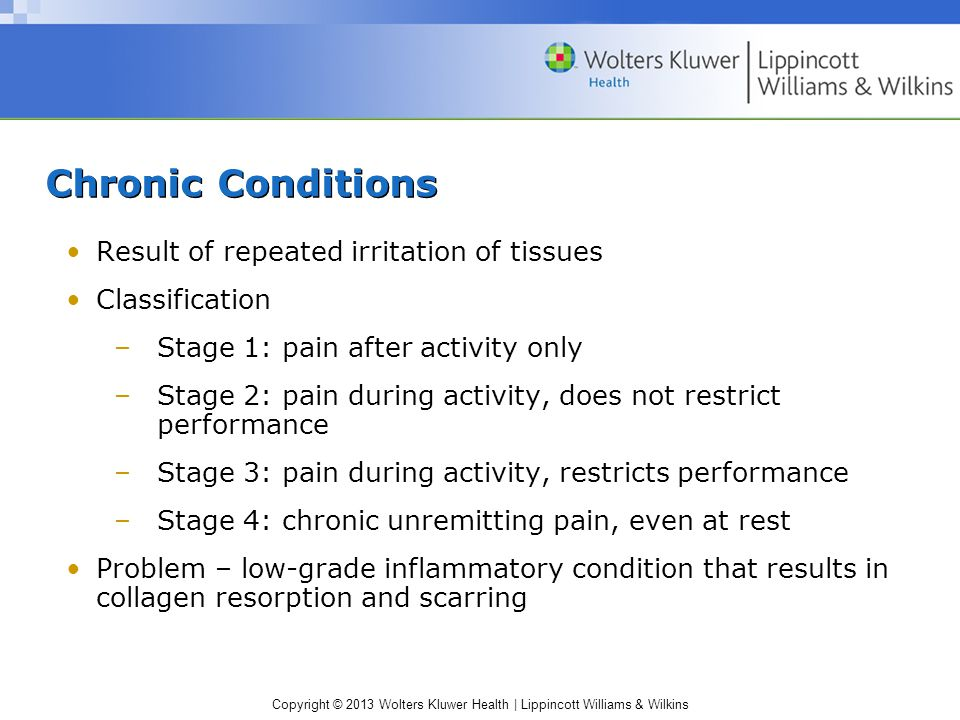 Chronic Conditions Result of repeated irritation of tissues