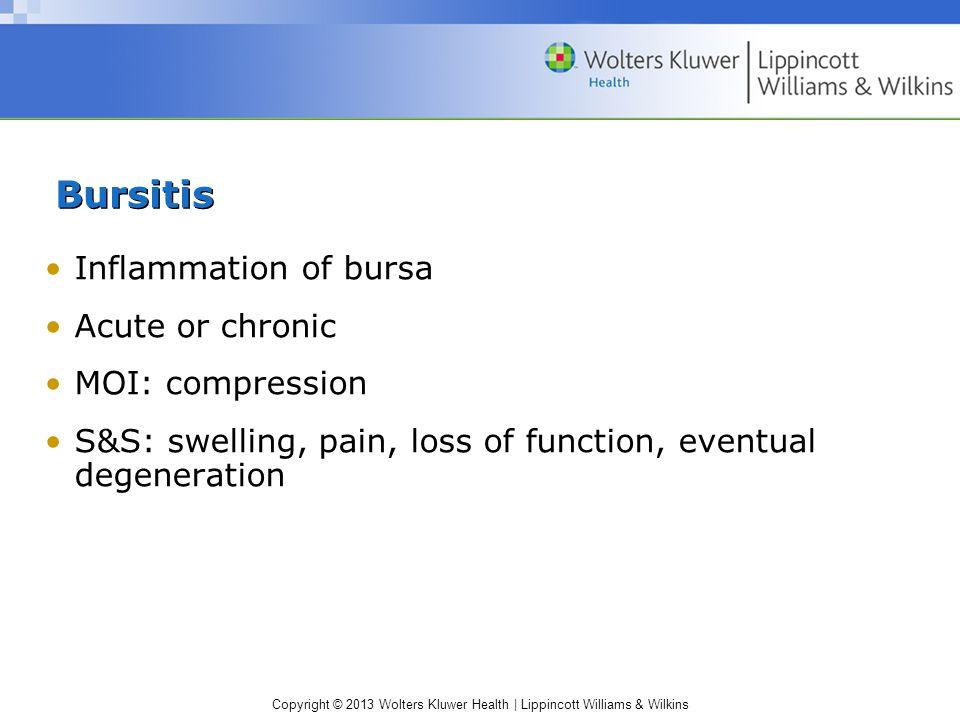 Bursitis Inflammation of bursa Acute or chronic MOI: compression