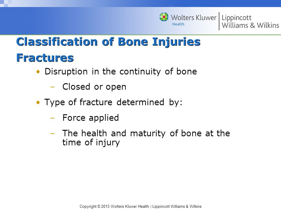 Classification of Bone Injuries