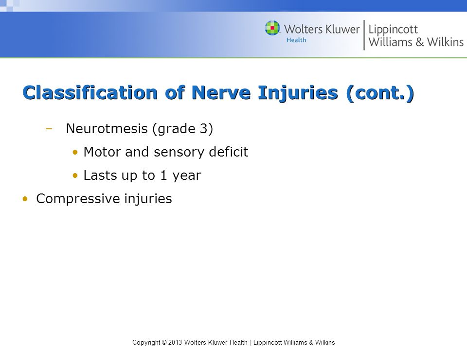 Classification of Nerve Injuries (cont.)