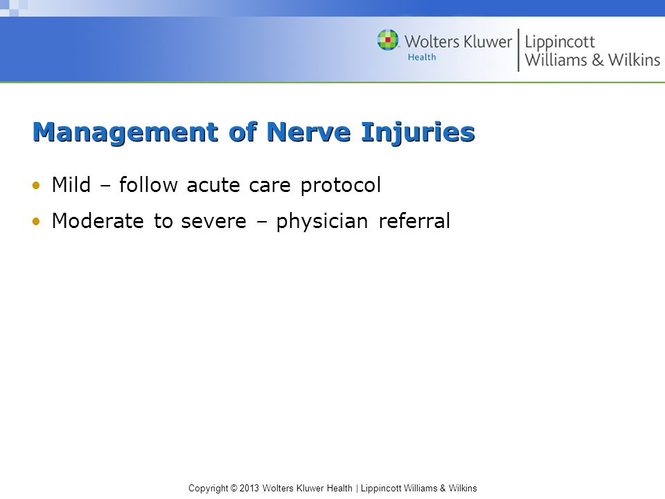 Management of Nerve Injuries