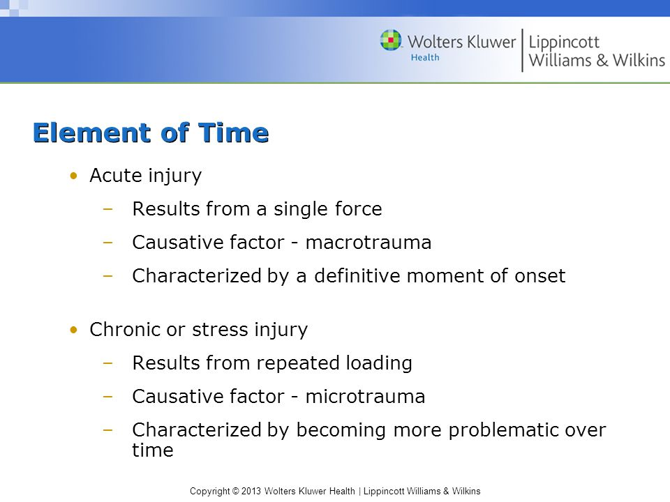 Element of Time Acute injury Results from a single force