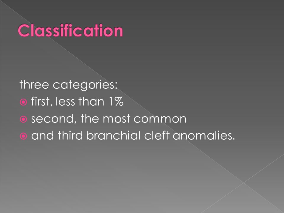 Classification three categories: first, less than 1%