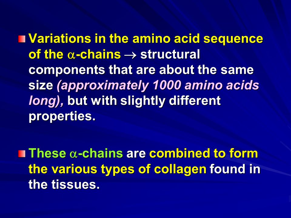 Variations in the amino acid sequence of the -chains  structural components that are about the same size (approximately 1000 amino acids long), but with slightly different properties.