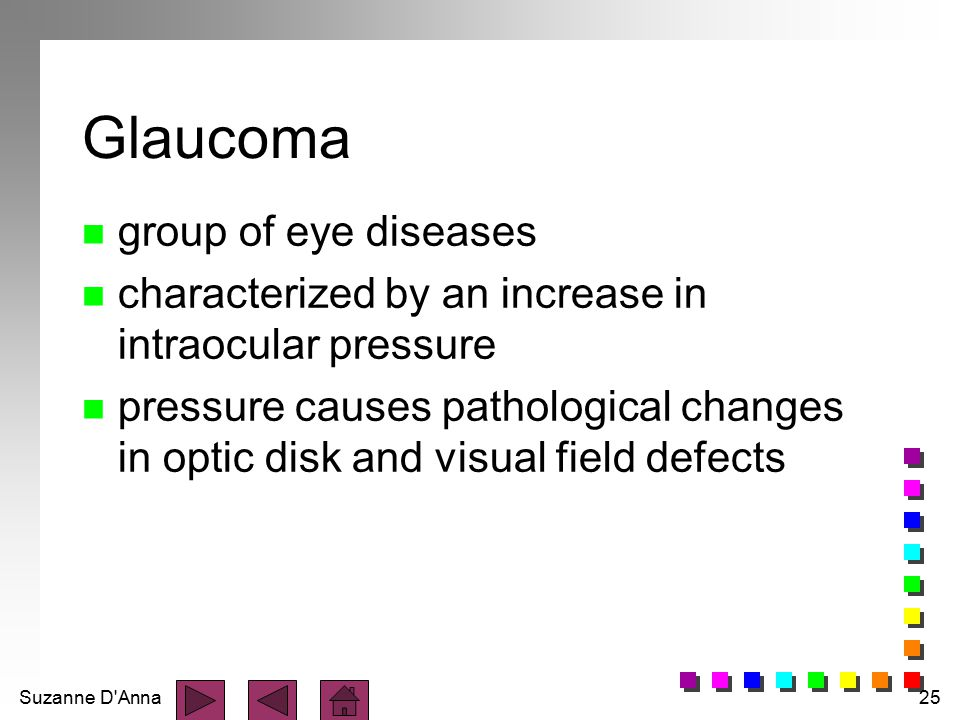 Glaucoma group of eye diseases