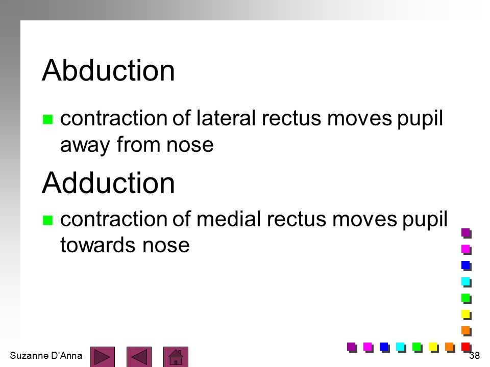 Abduction contraction of lateral rectus moves pupil away from nose.