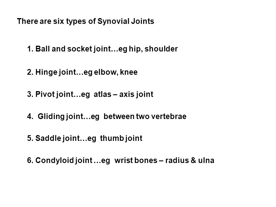 There are six types of Synovial Joints