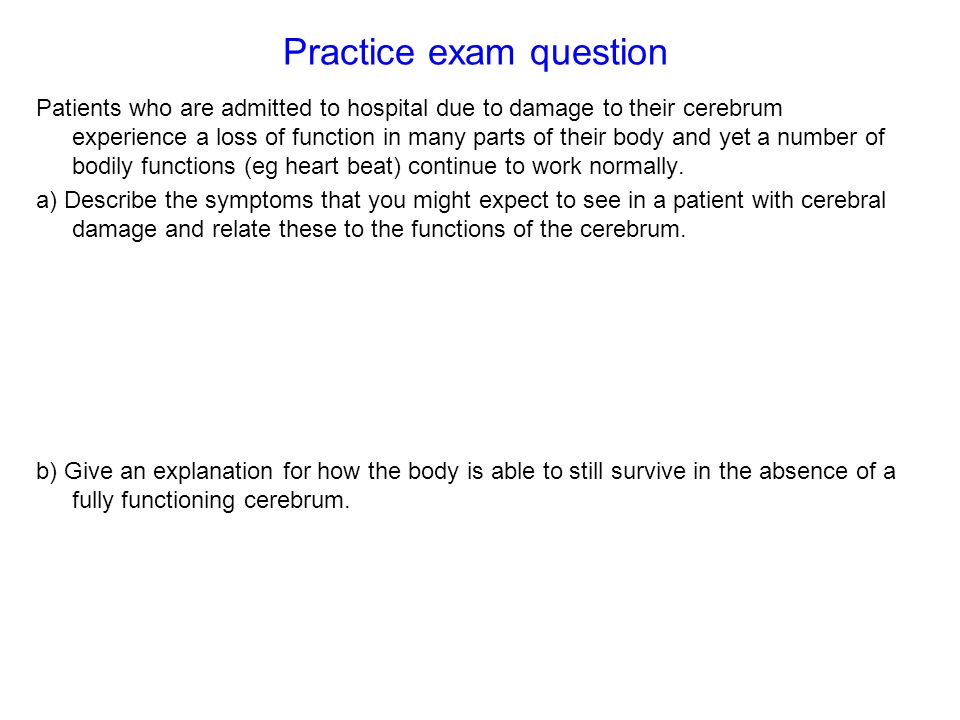 Practice exam question