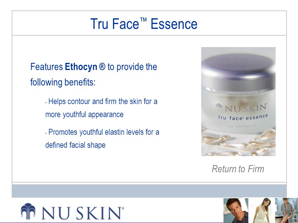 Tru Face™ Essence Features Ethocyn ® to provide the following benefits: Helps contour and firm the skin for a more youthful appearance.