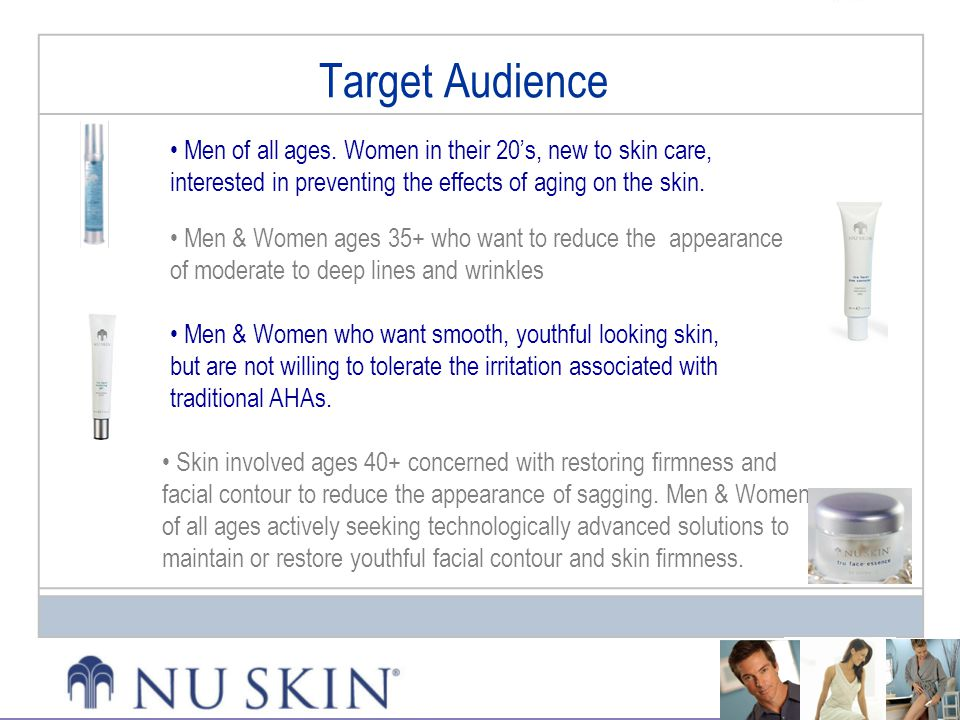 Target Audience Men of all ages. Women in their 20's, new to skin care, interested in preventing the effects of aging on the skin.
