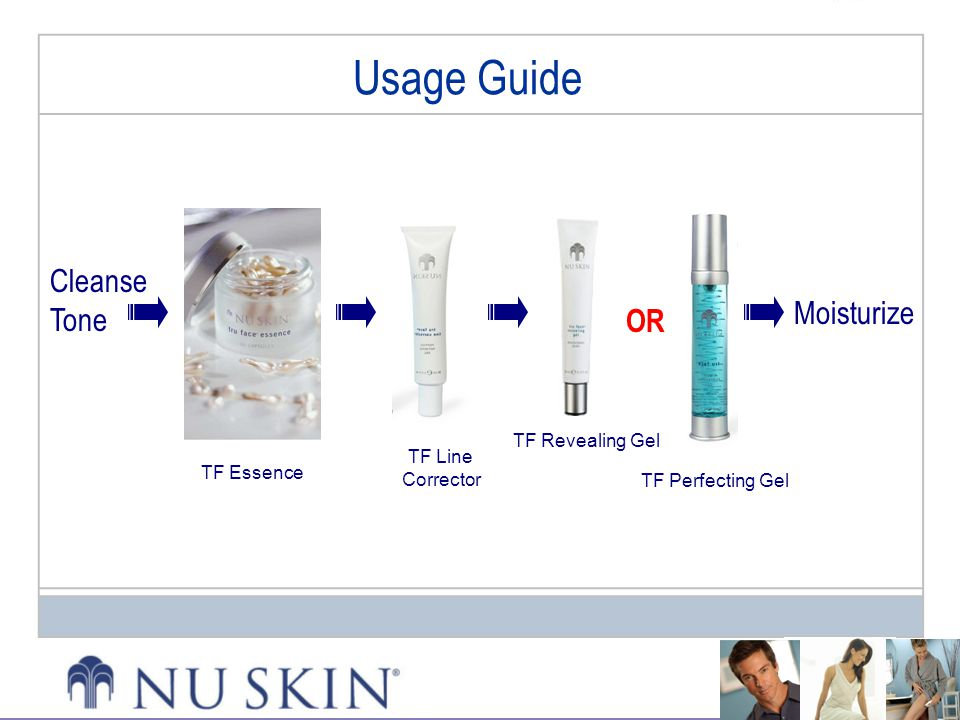 Usage Guide Cleanse Tone Moisturize OR TF Revealing Gel TF Line