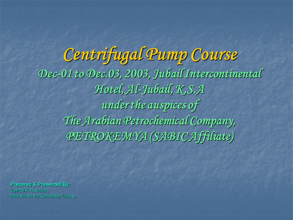 Centrifugal Pump Course Dec-01 to Dec
