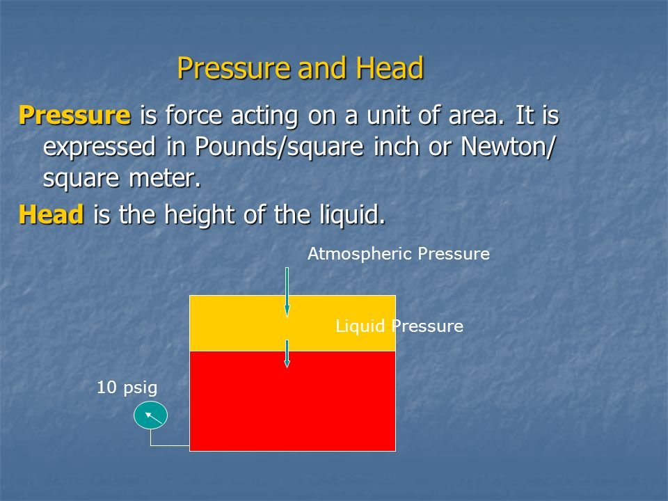 Pressure and Head Pressure is force acting on a unit of area. It is expressed in Pounds/square inch or Newton/ square meter.