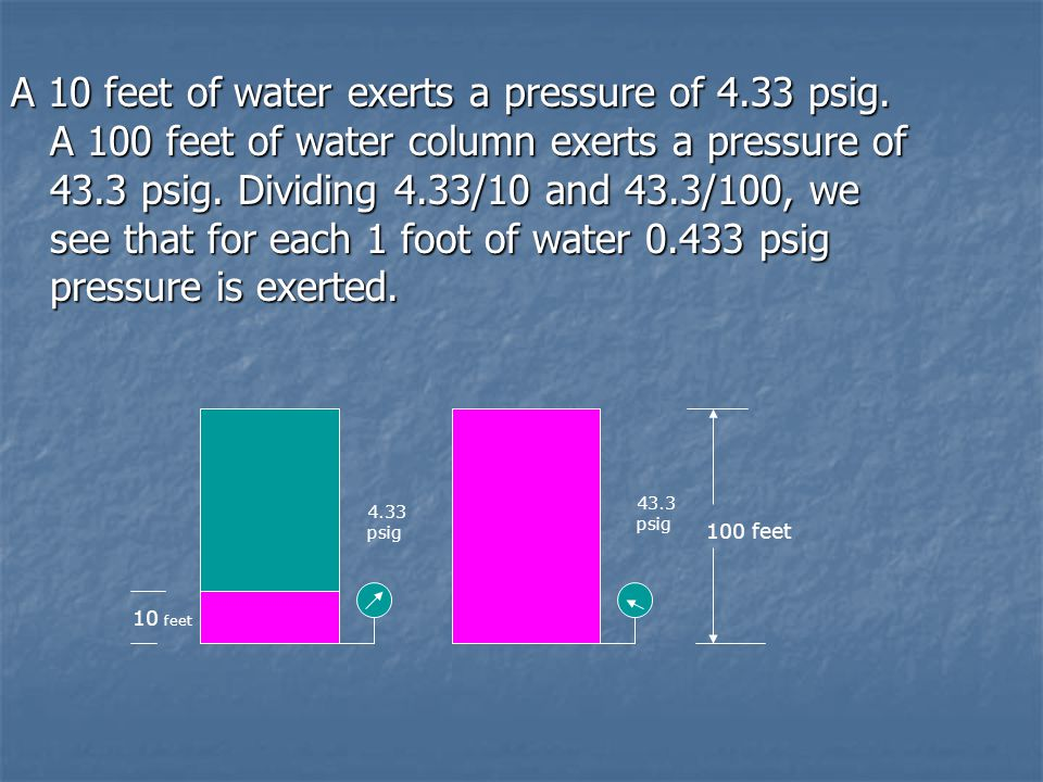 A 10 feet of water exerts a pressure of 4. 33 psig