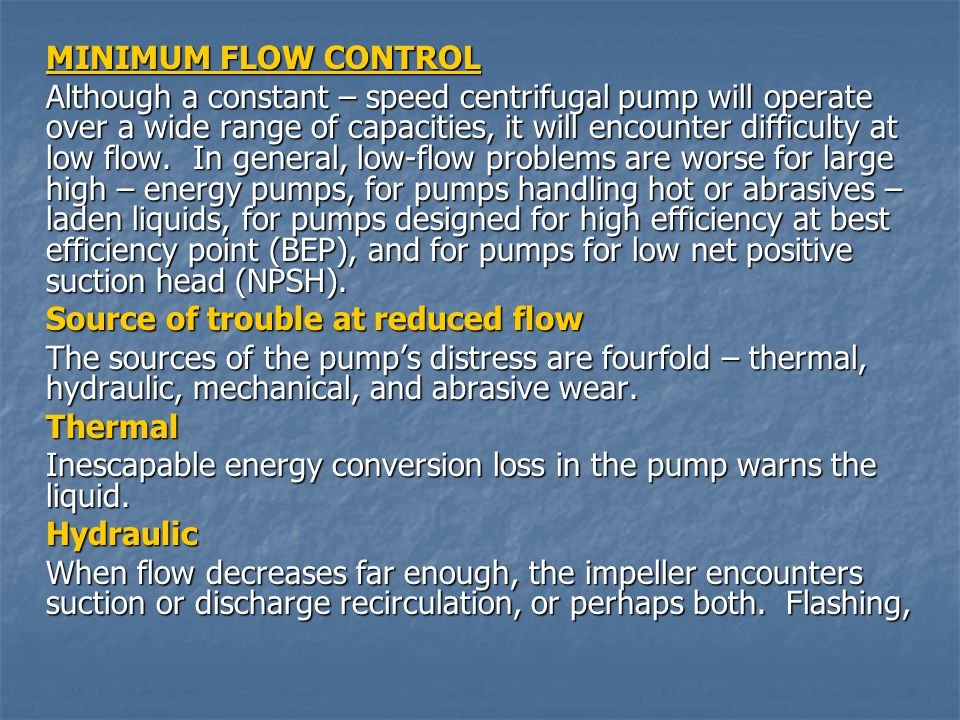 MINIMUM FLOW CONTROL
