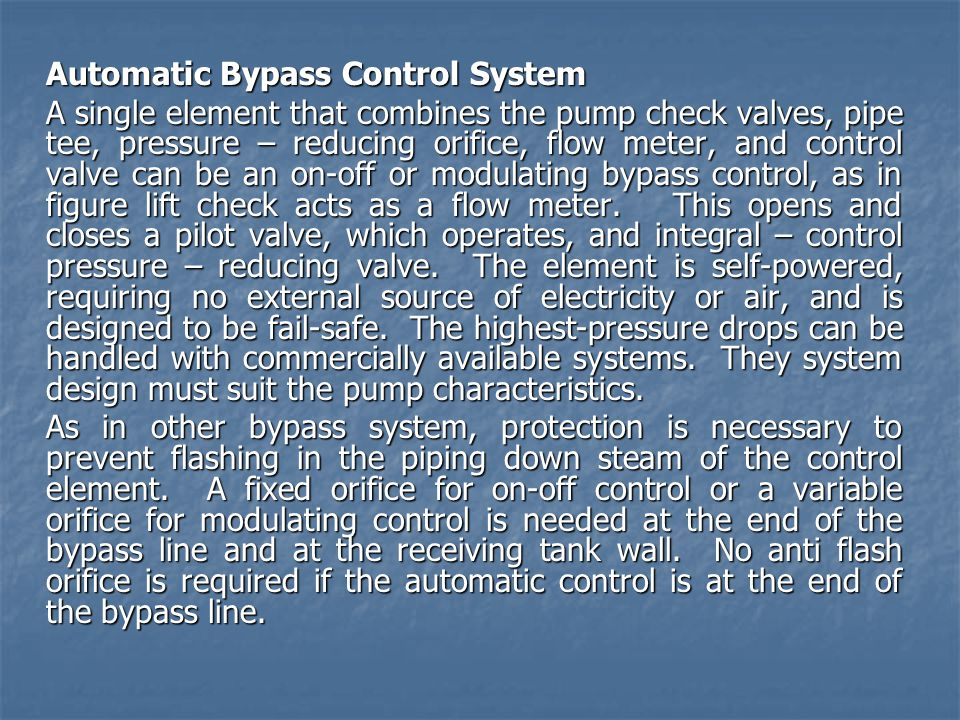 Automatic Bypass Control System