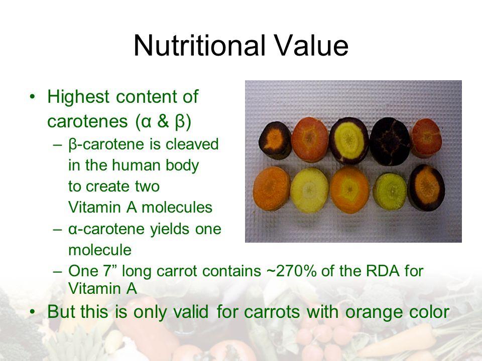 Nutritional Value Highest content of carotenes (α & β)