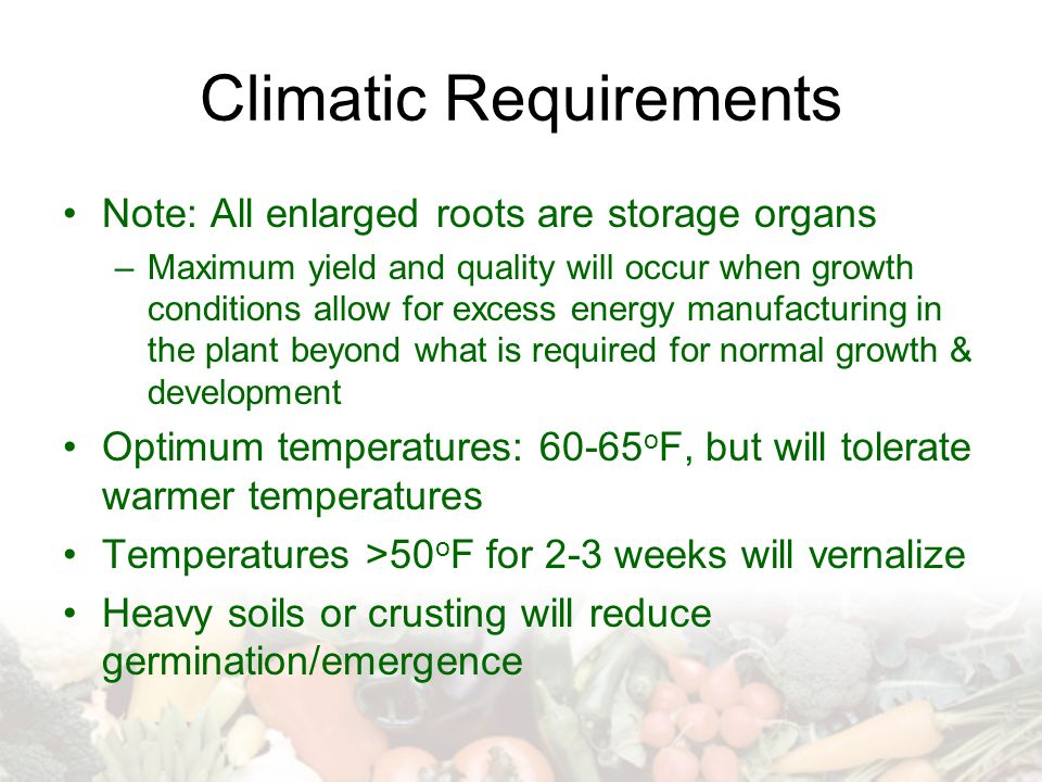 Climatic Requirements