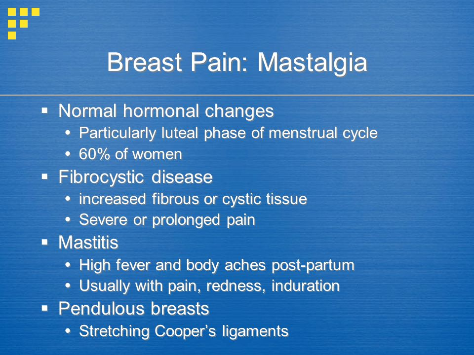 Breast Pain: Mastalgia