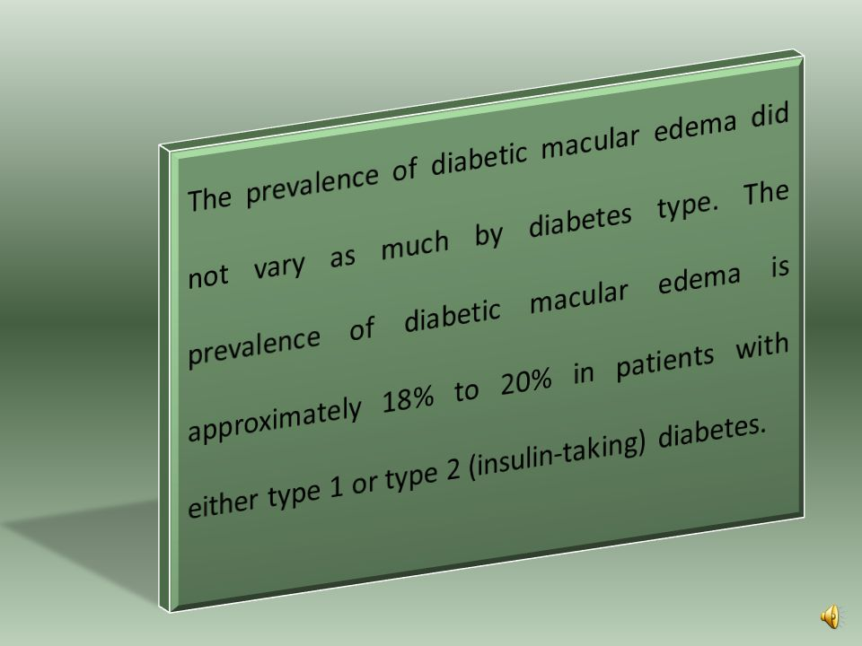 The prevalence of diabetic macular edema did not vary as much by diabetes type.