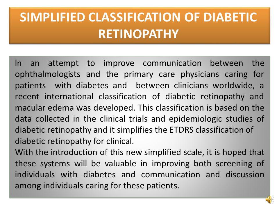 SIMPLIFIED CLASSIFICATION OF DIABETIC RETINOPATHY