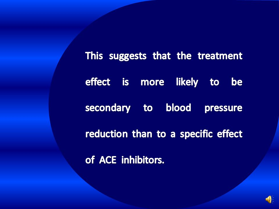 This suggests that the treatment effect is more likely to be secondary to blood pressure reduction than to a specific effect of ACE inhibitors.