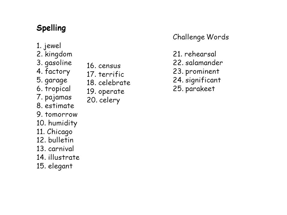 Spelling 1. jewel Challenge Words 2. kingdom 3. gasoline 21. rehearsal