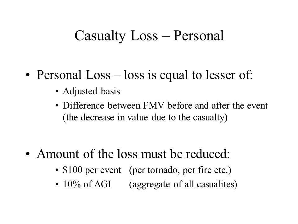 Casualty Loss – Personal