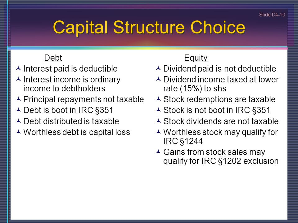 Capital Structure Choice