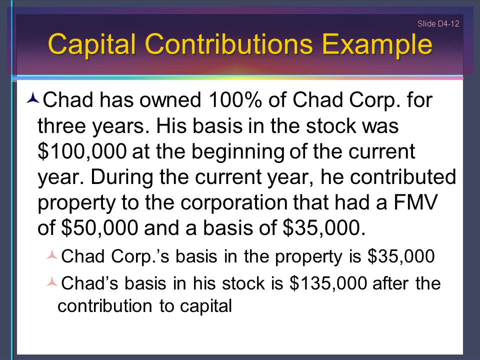 Capital Contributions Example