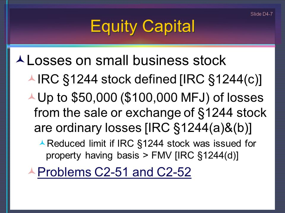 Equity Capital Losses on small business stock