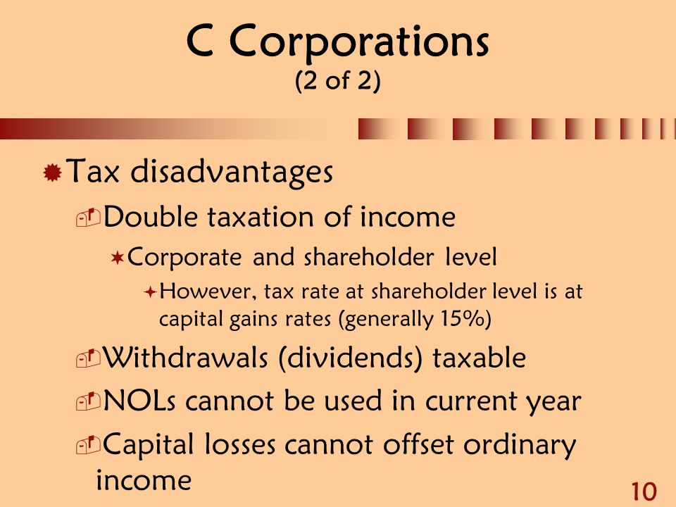C Corporations (2 of 2) Tax disadvantages Double taxation of income