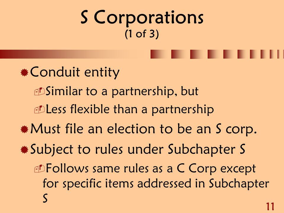 S Corporations (1 of 3) Conduit entity