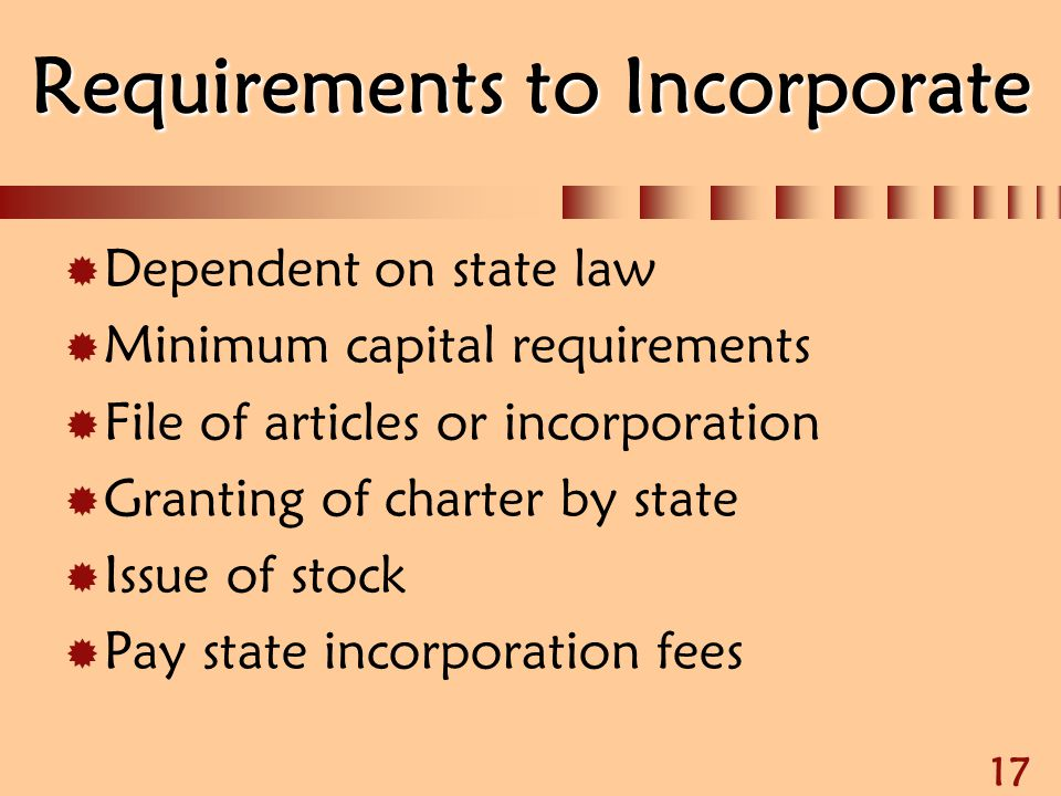 Requirements to Incorporate