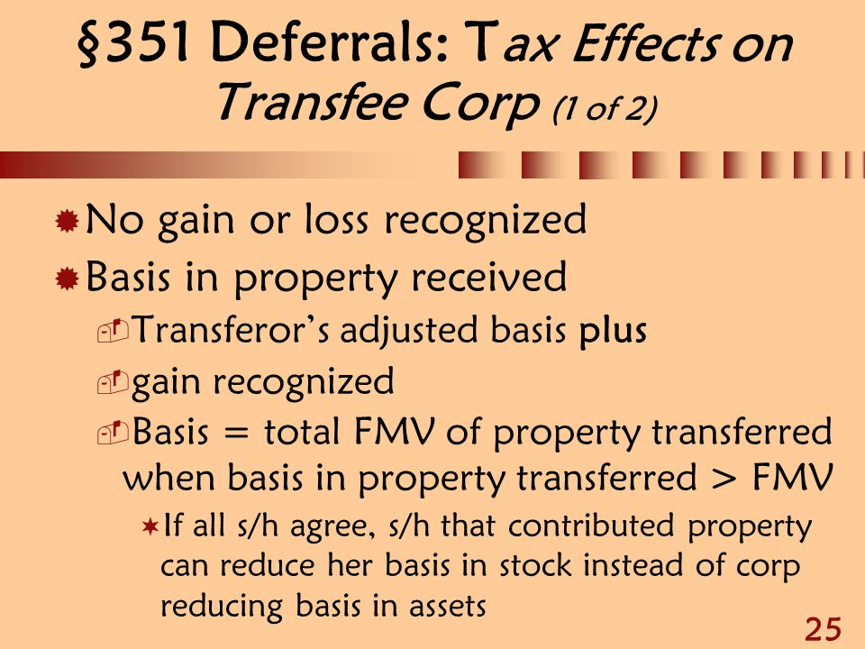 §351 Deferrals: Tax Effects on Transfee Corp (1 of 2)
